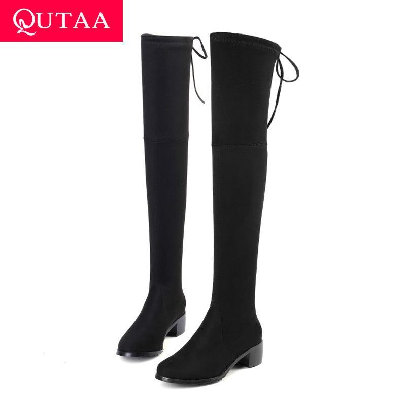 QUTAA 2020 Kadınlar Kış Boots Moda Tüm Maç Elastik Kumaş Üzeri Diz Yüksek Ayakkabı Kare Orta Topuk Kadın Boots Boyut 34-43 T200425