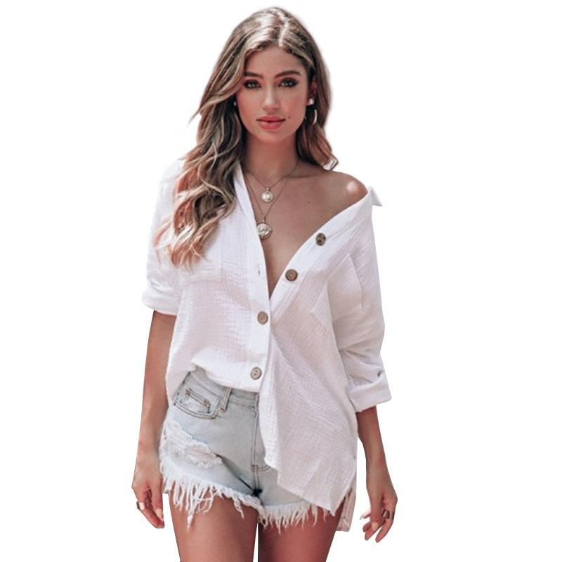 Bluse Frauen-Shirt Weiß Langarm Mode Frau Blusen 2020 Frauen Tops und Blusen elegantes Top Female BM0796