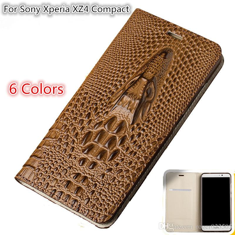 QX09 Timsah Başkanı Desen Gneuine Deri Manyetik Flip Case Kickstand Ile Sony Xperia XZ4 Için Kompakt Telefon Kılıfı Ile Kart Yuvası