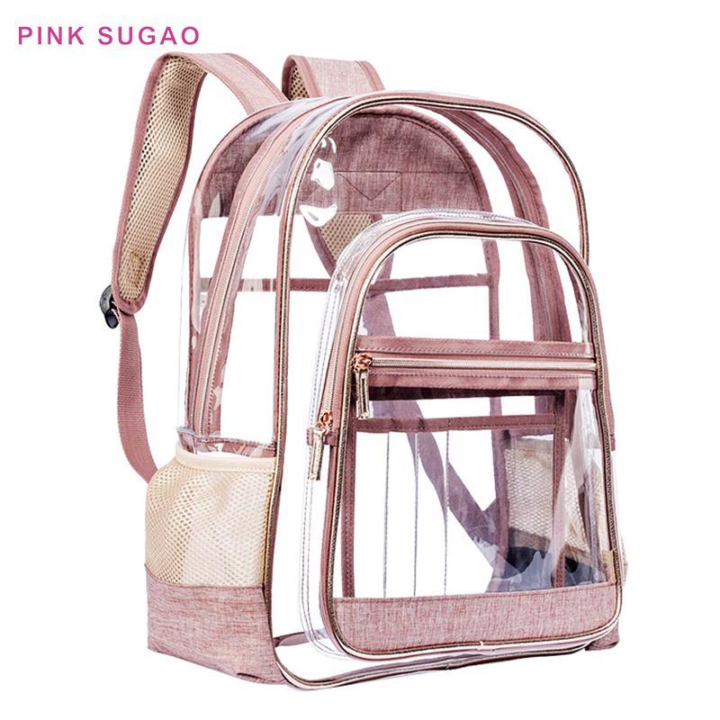 mochila de color rosa las mujeres de diseño Sugao mochila mochilas del bolso de escuela del estudiante pvc impermeable del recorrido del bolso de hombro de la nueva manera transparente
