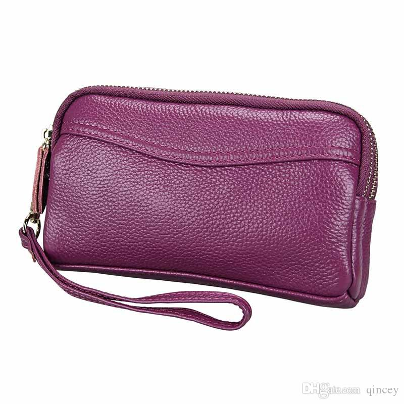 6.9 Inches Long Brand Card Woman Designer Luxury Purses Bags, Coin Double Zipper Purse,Real Leather Clutch