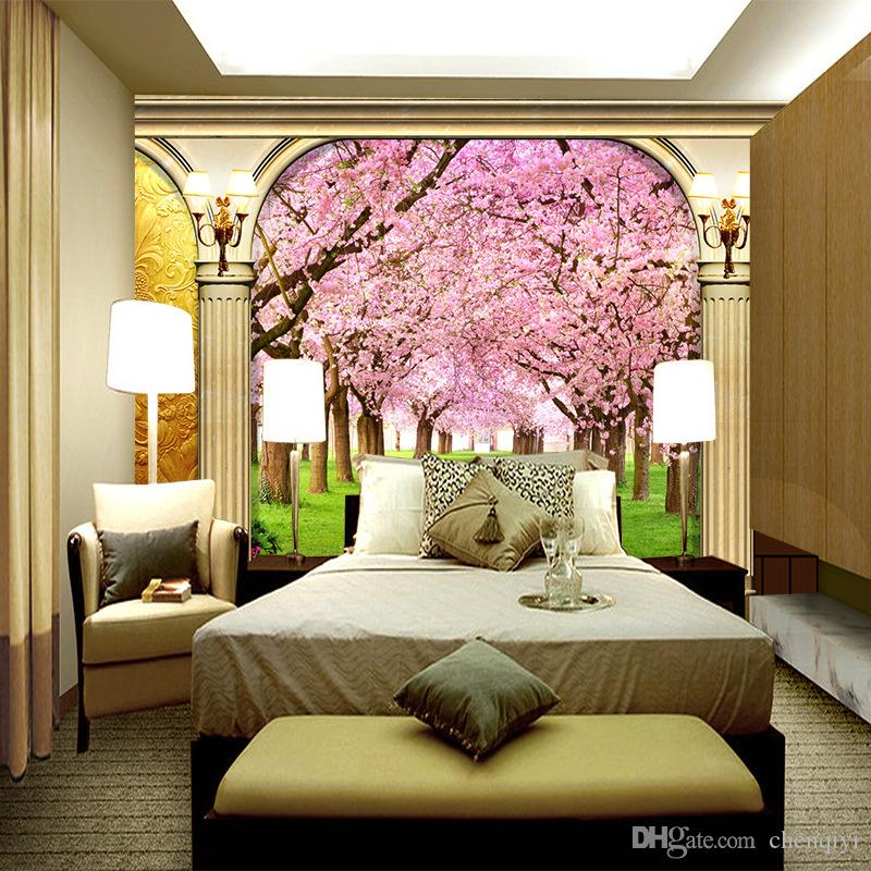Fond d'écran européen grand mur de canapé de salon papier peint 3D stéréo sans soudure pilier romantique non-tissé de fleurs de cerisier