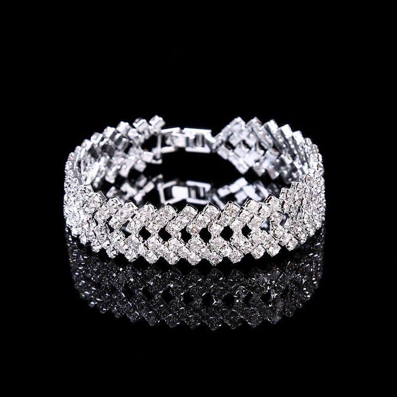 Amandabridal Silver / Gold Crystal Body Jewelry Brazaletes Pulseras Para Mujeres Traje Joyería Cubic Zirconia Pulsera De Cadena De Niños