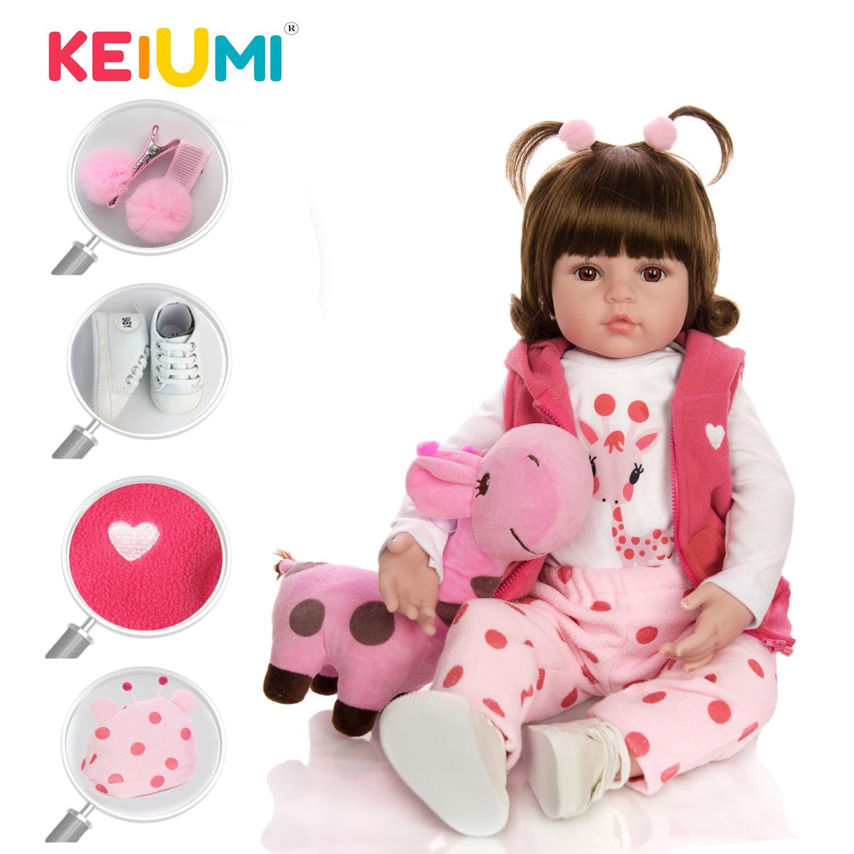 KEIUMI милый жираф Reborn Baby Girl кукла настоящий действительно Силиконовый винил Boneca Reborn DIY игрушка мягкая кукла для детей подарок на День Рождения Y200111