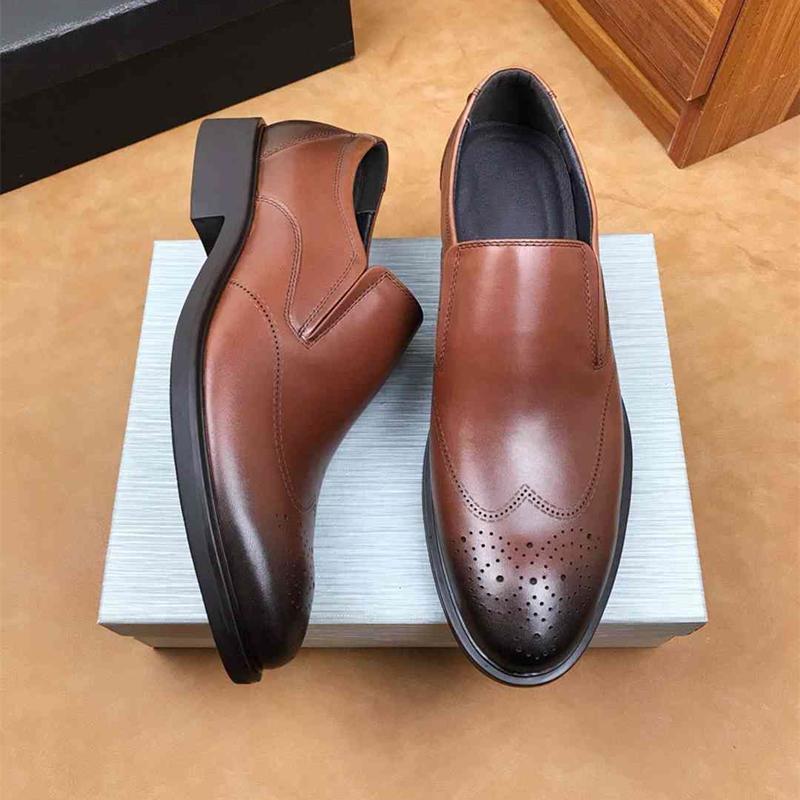 clássicos cor pura único sapatos New Shoes britânicos Couro de couro Homens Confortável antiderrapante formais