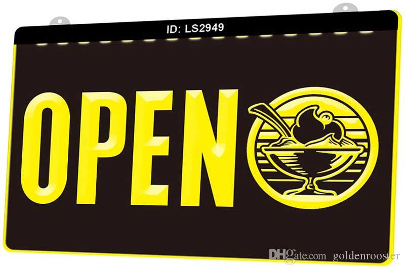 LS2949 Restaurant Food Open New 3D Engraving LED Light Sign Customize on Demand Multiple Color