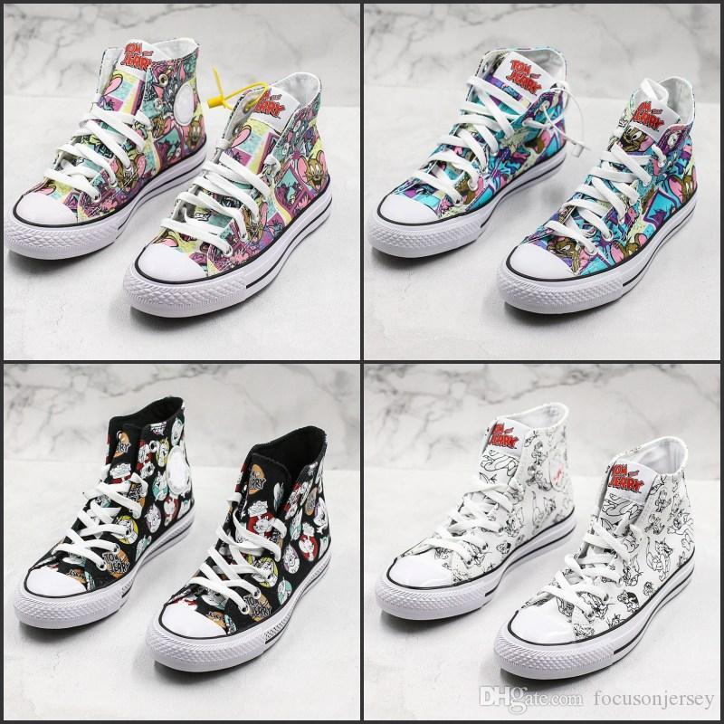 1970'ler Taylor YILDIZ Chuck 70 Merhaba Tom Jerry Tuval Ayakkabı Graffiti Yüksek ayakkabı Casual Kaykay Sneakers Kız Klasik size36-45