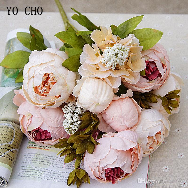 AU Rose Bridal Bouquets Decor Artificial Silk Artificial Wedding Flowers Party