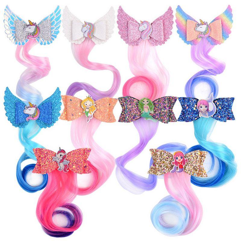 Unicorn Glitter perruque colorée Braid bouclés Bow sirène Barrette Parti Sequin mignon fille Princesse cheveux Accessoires A288