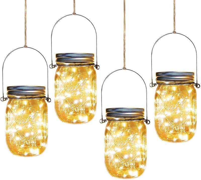 Fada Led Firefly Cordas Jar Tampas Lights, branco morno cores, cabides Incluir, Lanterna Solar exterior para Pátio Quintal festa do casamento do jardim