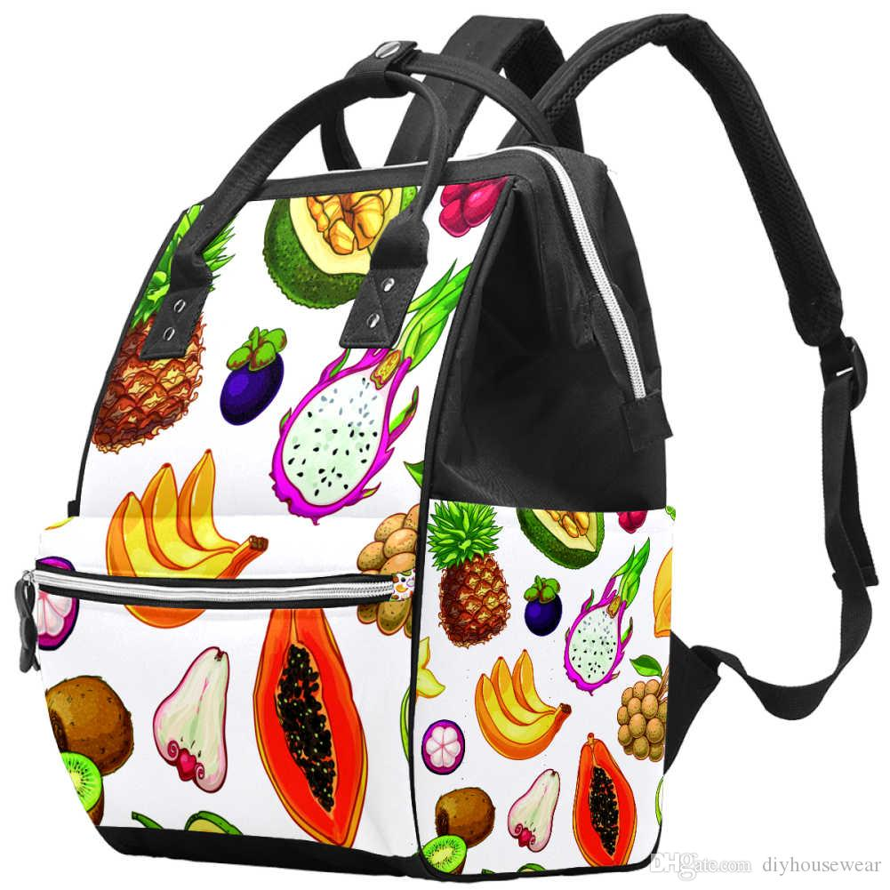 Fashionable and creative fruit feast mummy backpack multifunctional large capacity Diaper Bag Travel Baby Bag