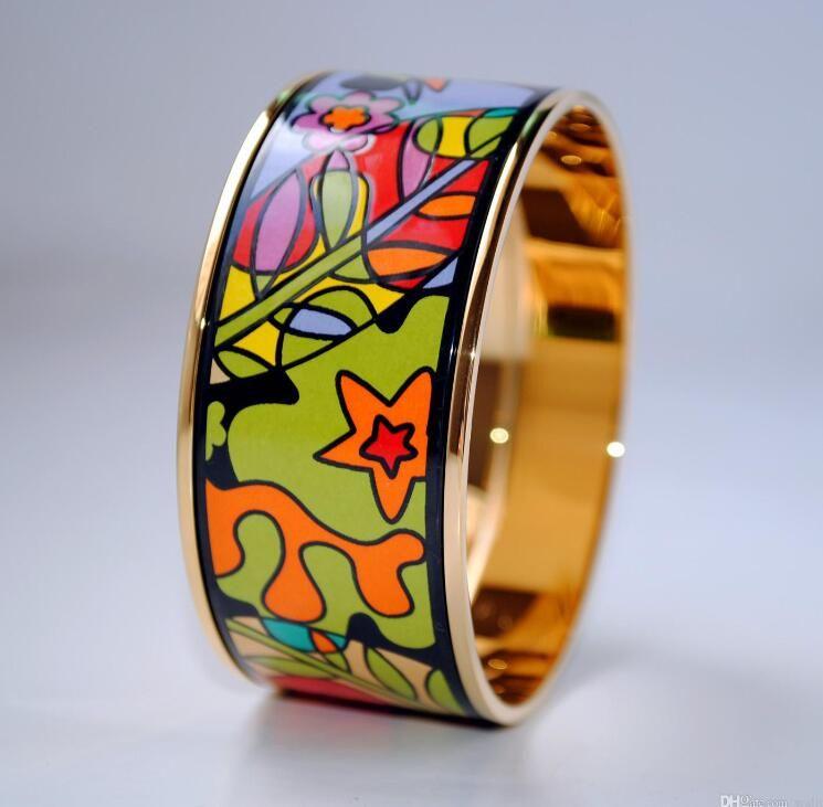 Dream Garden Series Bracelet en émail plaqué or 18 carats bracelet pour femme Top avancée bracelets bracelets largeur 30mm bijoux à la mode dame