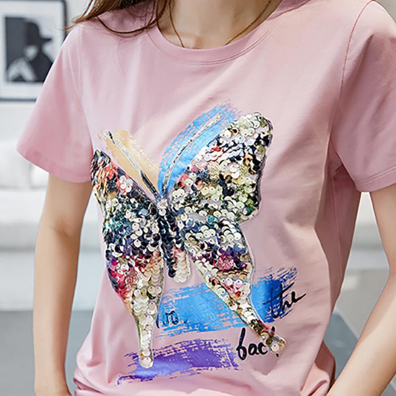 Femme Tshirt con paillettes T Shirt Shintimes Tee Shirt estate delle donne delle parti superiori T-shirt manica corta casuale Camisetas Mujer Verano 2018 Y200109