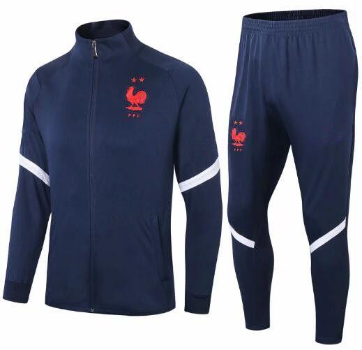 Survetement فرنسا رياضية سترات 2021 رجل كرة القدم التدريب البدلة 20 السراويل 21 TOP الجودة كم طويل PRE-MATCH كرة القدم الشتاء عدة