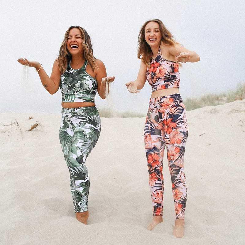 Gedruckt hohe Taille Printed Sport Anzug Frauen Fitness-Anzug Gym Kleidung Anzug für Frauen Jogging Yoga Set Sport-BH + Gamaschen