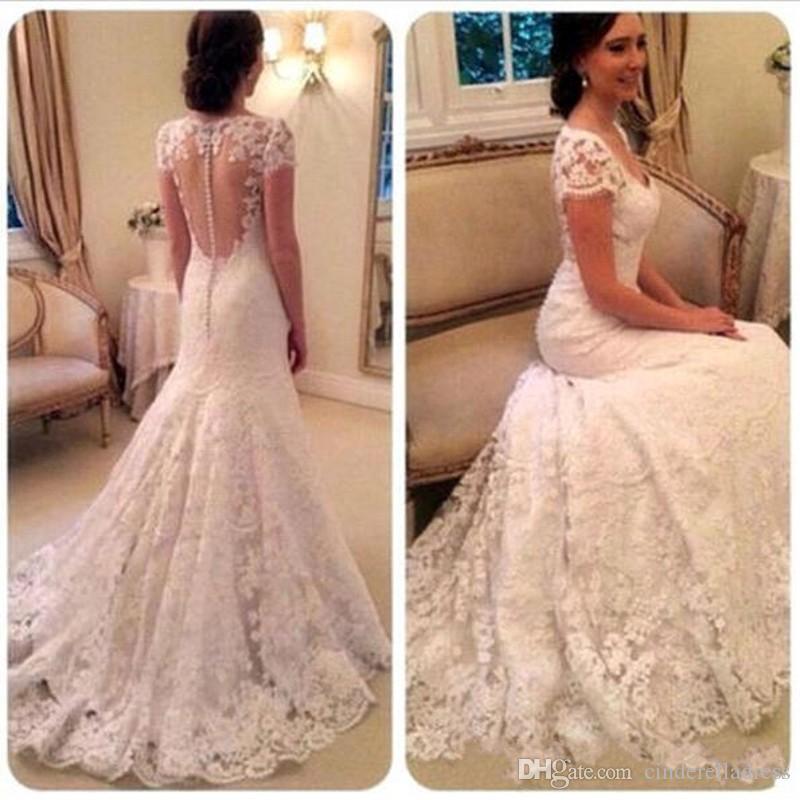 2019 Arabe V-cou robes de mariée en dentelle Full Cap manches Illusion romantique bouton retour longue une ligne robes de mariée avec balayage train BA2090