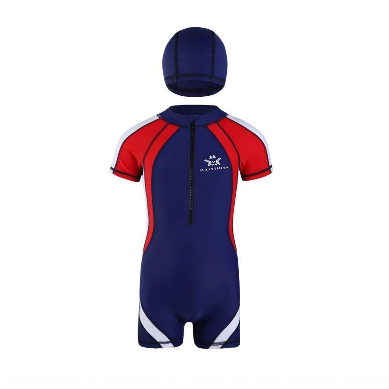 de natación de una sola pieza del traje de baño del estudiante ángulo plano conservador traje de aguas termales medio de la manga de los niños de la protección solar Haiyishan