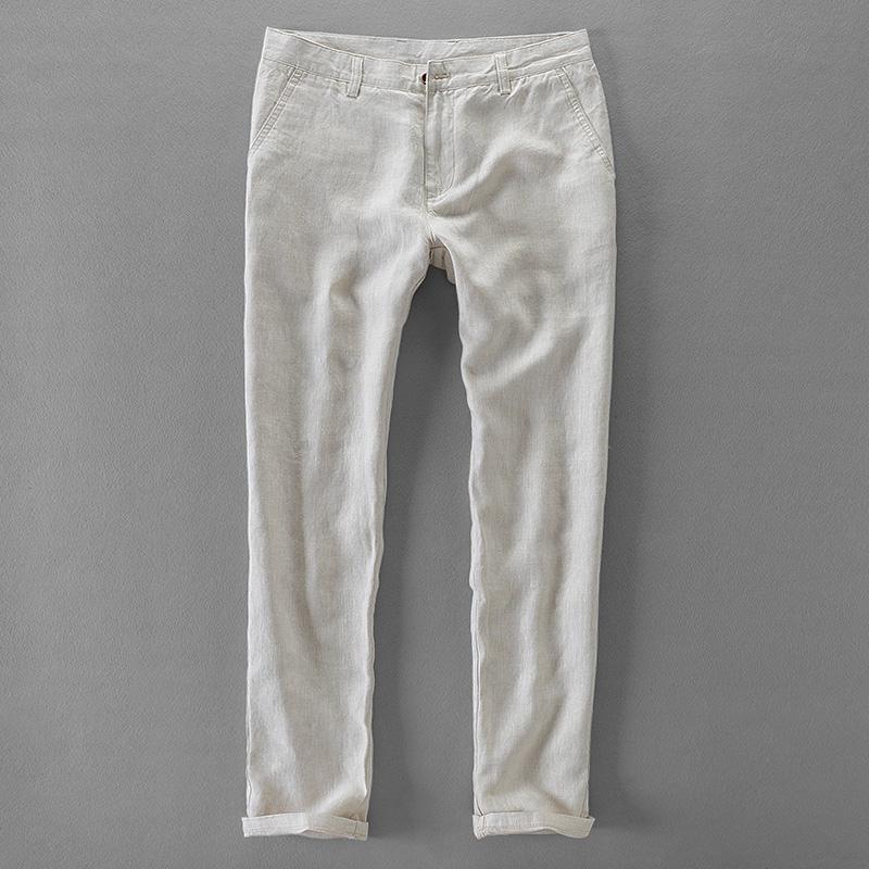 marca pantaloni lunghi degli uomini del Suehaiwe pantaloni solidi degli uomini casuali di tela dei pantaloni del Mens di modo di lino pantaloni di mens Pantalon 30-40