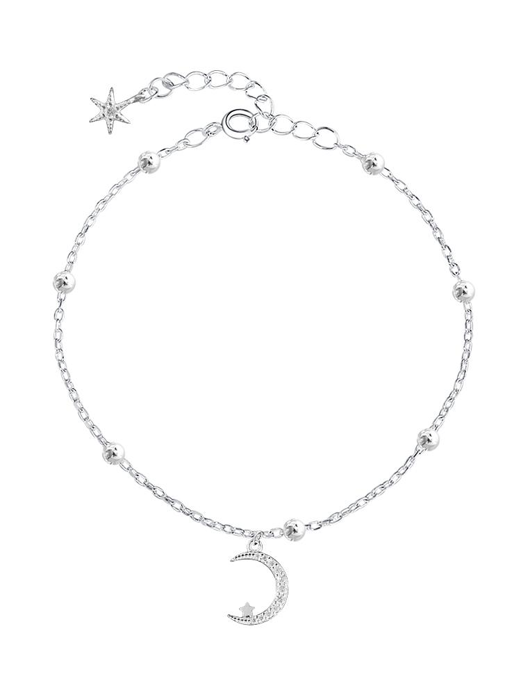 Starlight Dotted Beads Shiny Literary Moon Cute Crescent S925 Sterling Silver Bracelet Sweet Beauty And not easy to be allergic
