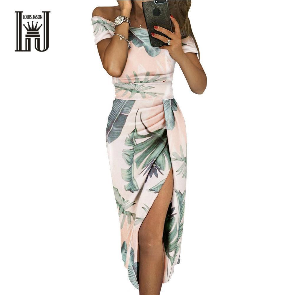 LOUIS JASON New Dress Women's Print Sexy Off Shoulder Short Sleeve High Waist Hem Split Medium Length Dress Robe Femme Sukienki