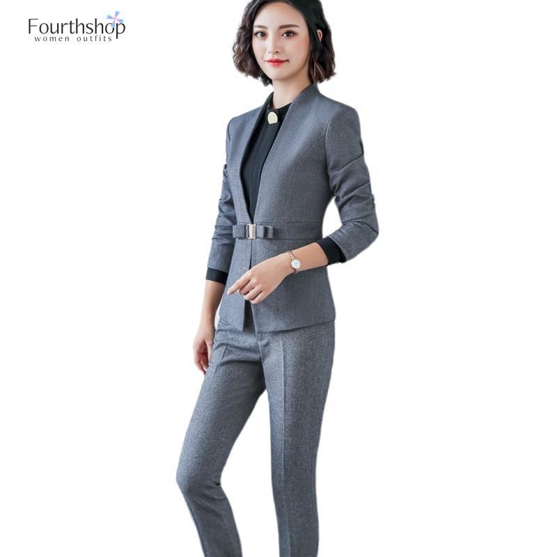 Fashion Women Two Pieces Set Office Lady Business Work Formal Pants Suits Female Plus Size Blazer Sets 2020 Autumn Winter Jakcet
