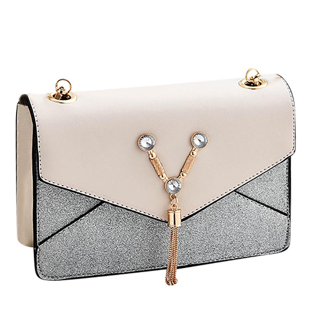 Tassel Patchwork spalla Messenger Borse delle donne 2019 del Fashion PU in pelle catena di spalla delle signore di Crossbody borsa bolso mujer