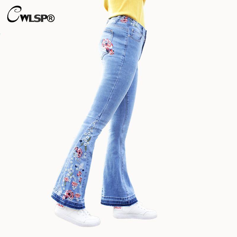 Размер CWLSP Плюс Джинсы клеш Брюки Женщина Вышивка Цветочные джинсы для женщин 2018. Середина талии вскользь Vintage Джинсовые брюки Femme QL3539