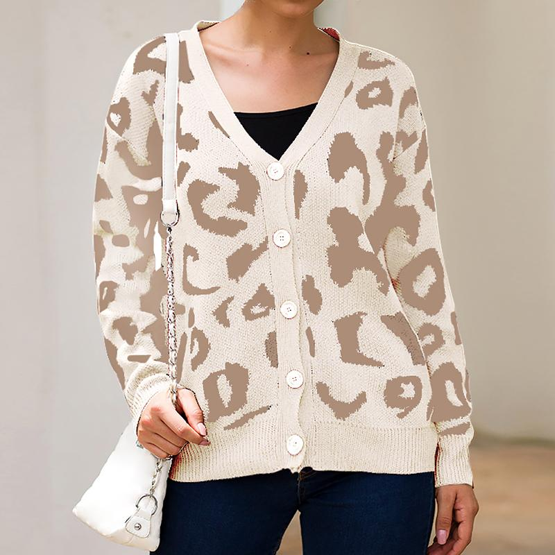 Femmes imprimé léopard Cardigan Pull col V simple boutonnage en vrac Mode Pull Casual Automne hiver chaud tricot Lady Sweater