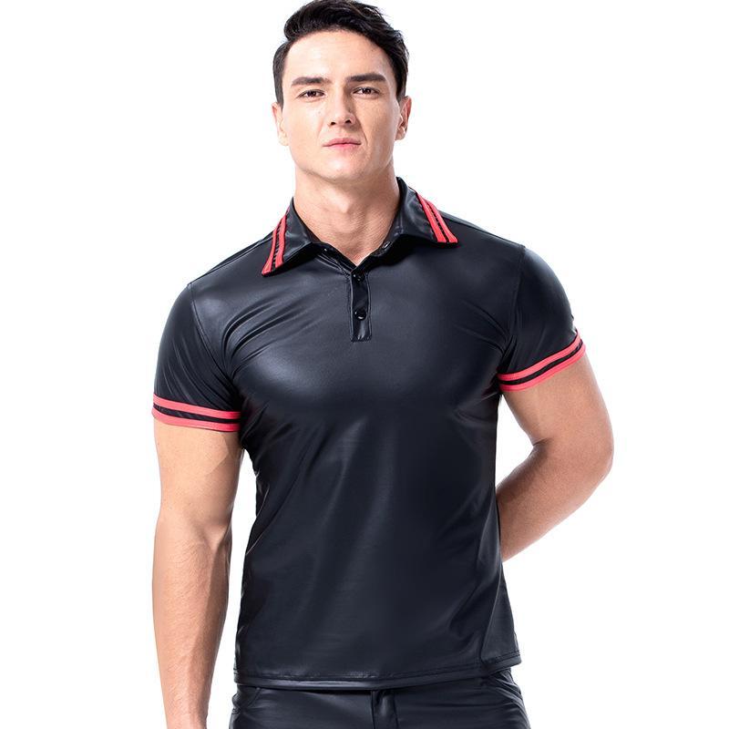Sıcak Satış Yeni Erkek Rugan Kısa Kollu Clubwear Bodysuit Üst Gömlek Bluz Boyut S-2XL