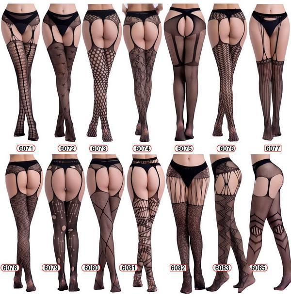 607 النساء السود مثير الأربطة جوارب الملابس الداخلية انظر من خلال جوارب طويلة