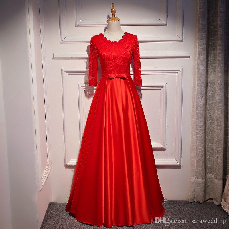 Yarım kollu nedime elbiseler bow ile 2020 yeni dantel aplikler abiye giyim kırmızı saten resmi elbise