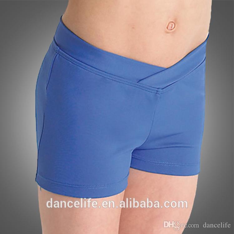 Free shipping C2516 girls ballet dance shorts wholesale V-front dance shorts Guangzhou supplier for booty dance shorts