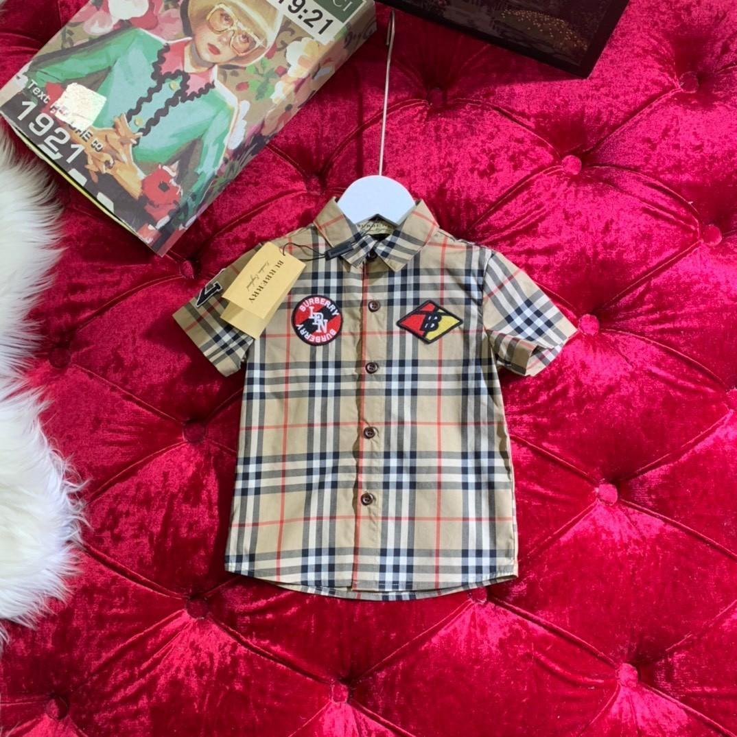 Yeni Desen Çocuk Yaz Kısa Kollu Kadın Erkek dibe Bluzlar Klasik kafes gömlek 032815