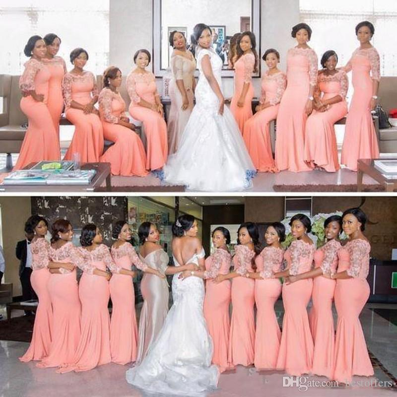Нигерийский Африканский Платья Невесты Плюс Размер 2019 Арбуз Половина Длинные Рукава Топ Кружева Sweep Поезд Maid Of Honor Вечерние Платья Дешевые