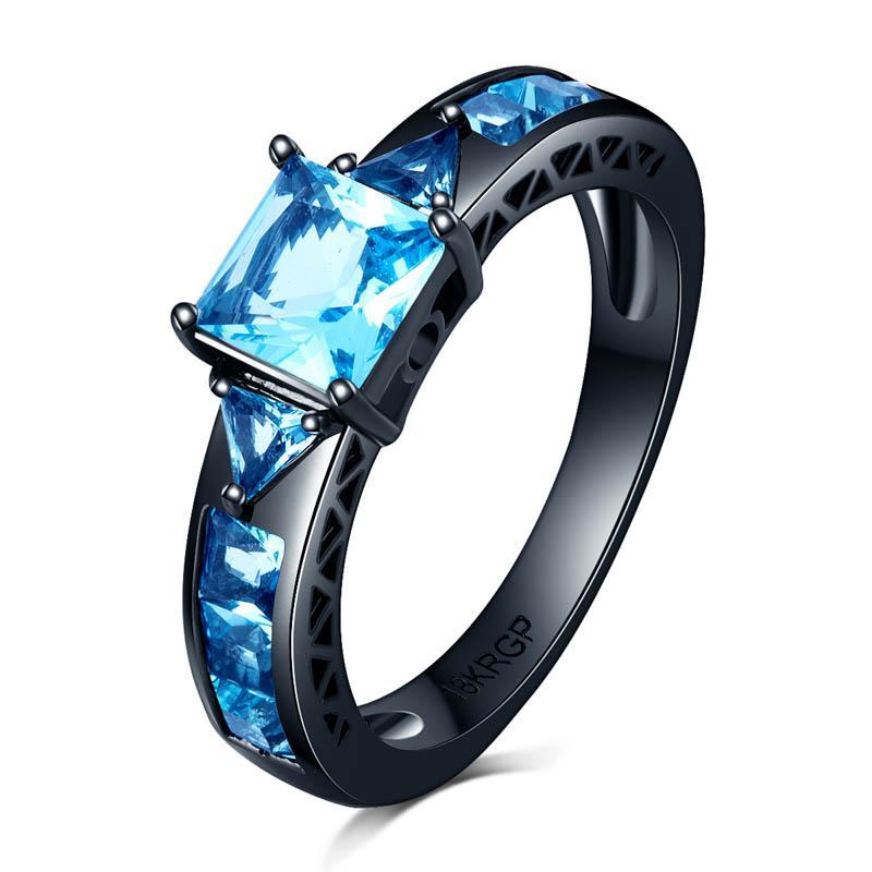 18KGP bollino blu zirconi anelli di diamante per le donne Lady Black Gold Filled aggancio di cerimonia nuziale Amore Promise Ring Anel