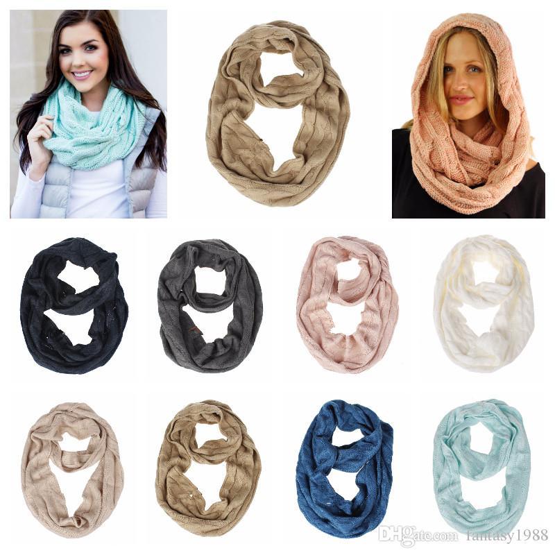 8 цветов женщины зима теплая вязать шарф шерстяные девушки вязаные кольца петли крючком шарф подростки шеи шарфы шейный платок 135-175 см