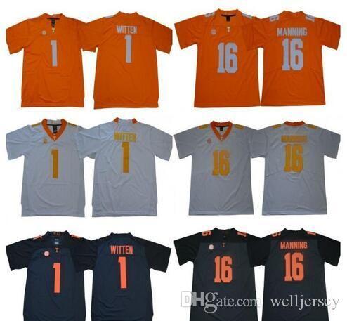 Hommes NCAA Tennessee Volunteers Jersey 1 Jason Witten 16 Peyton Manning Cousu College Football Jersey de haute qualité Livraison gratuite
