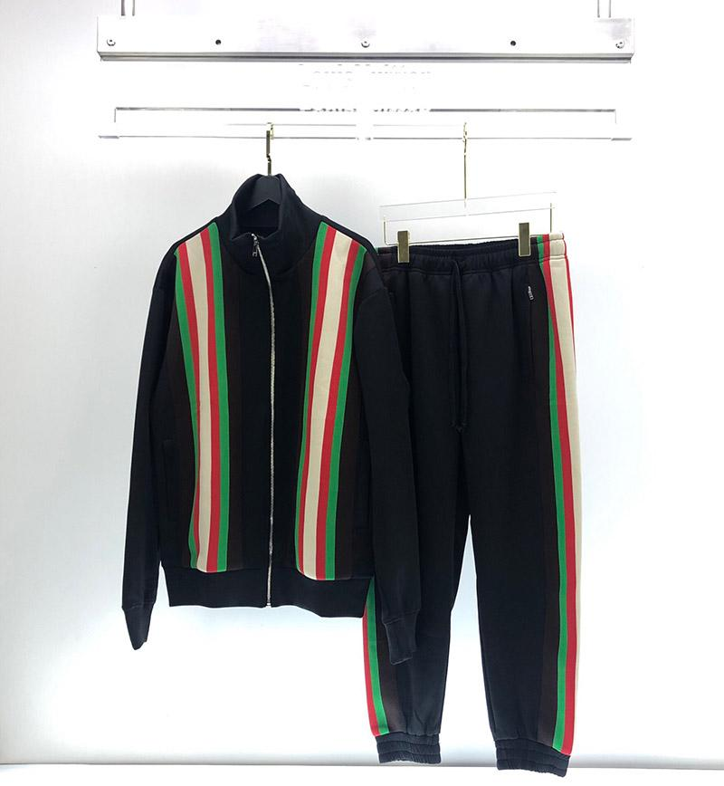 2020 весной и осенью итальянский классический красный и зеленый полосы мужчин и женщин молния кардиган луч ногу брюки случайных спортивной