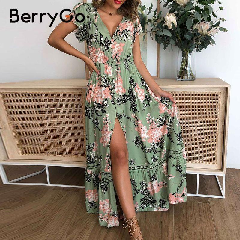 Long Maxi Dress Ladies Women Green Printed V Neck Beach Summer Party 10 12 14