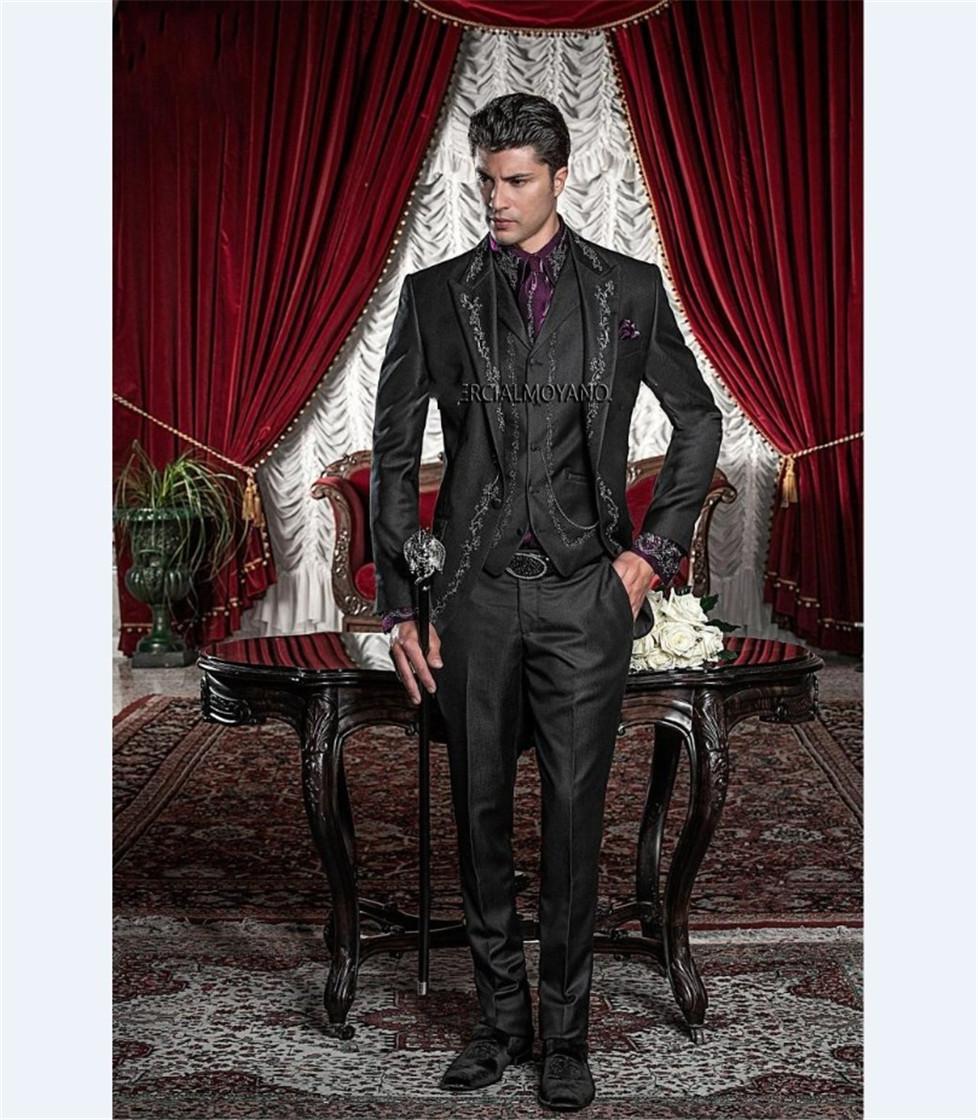 Stickerei Groomsmen Spitze Revers Bräutigam Smoking Black Men Anzüge Hochzeit / Prom / Abendessen Bester Mann Blazer (Jacket + Pants + Tie + Vest) K180