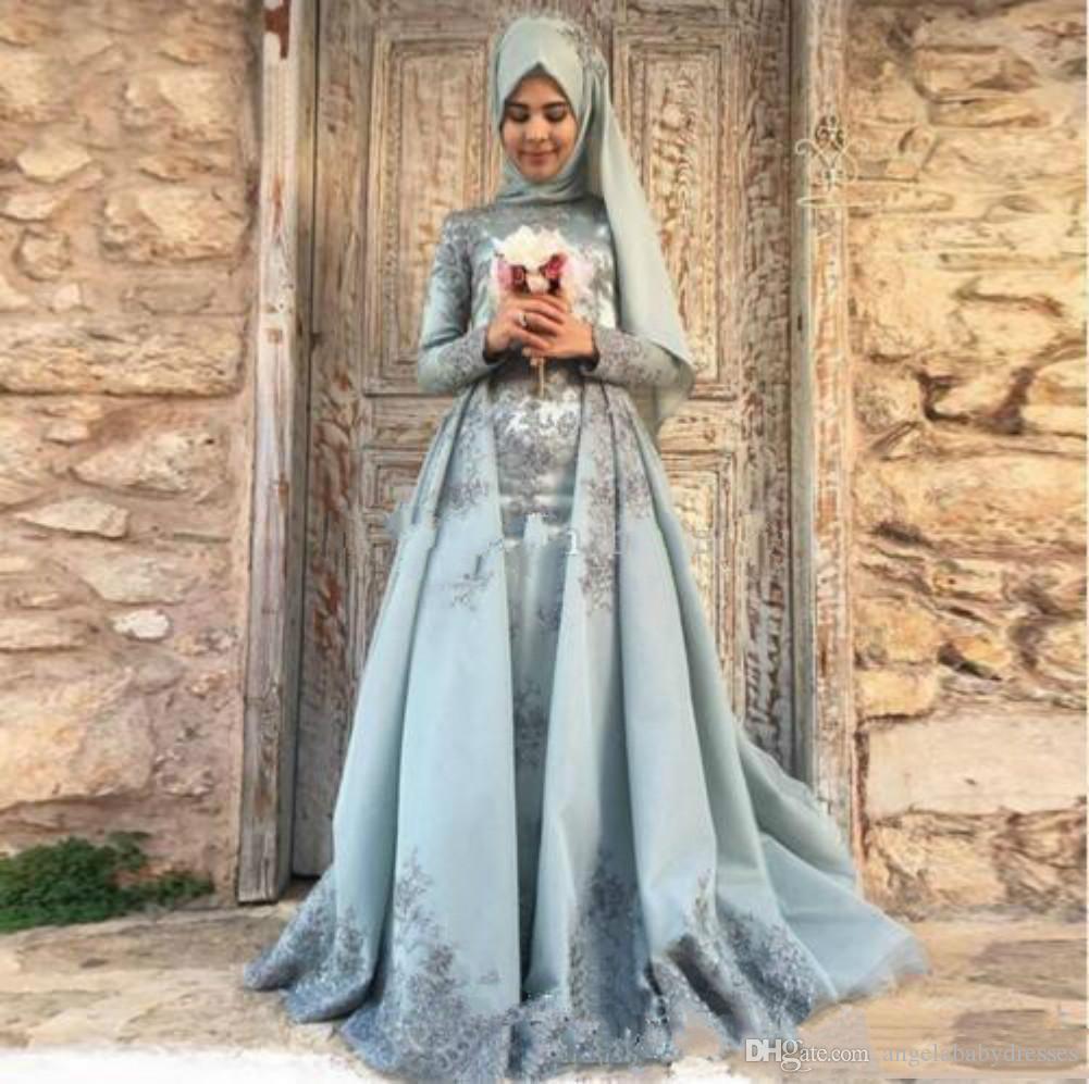 New Romantic Muslim Abendkleider Naher Osten lange Hülsen-Spitze Dubai Vestidos De Festa Partei-Kleid-Abschlussball-formales Festzug Promi-Kleider EA1