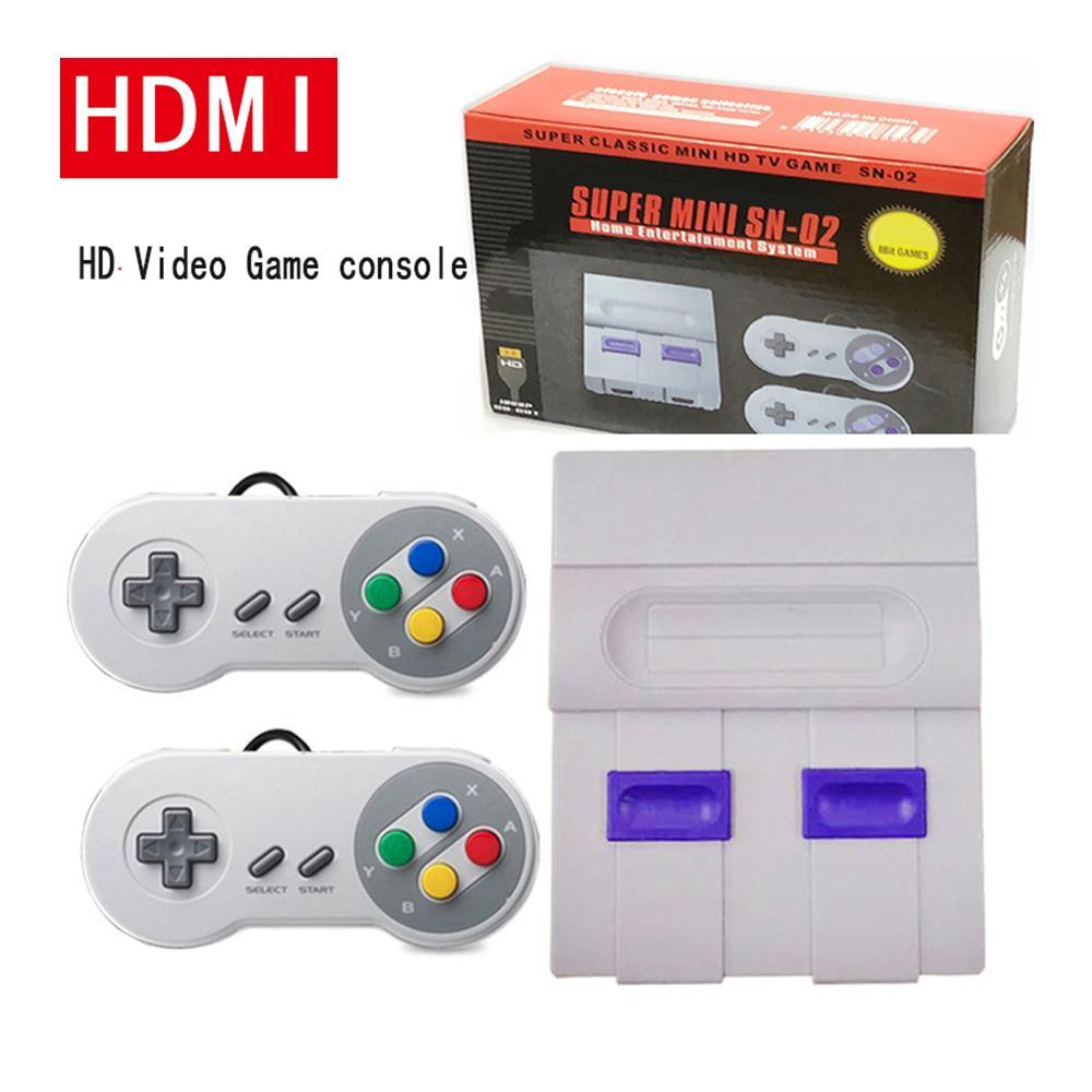 SFC NES HDTV 8Bit Mini HD HDMI TV Retro Family Video Game Console Handheld Built-in 821 Classic for SNES Games Dual Gamepad Player PAL&NTSC