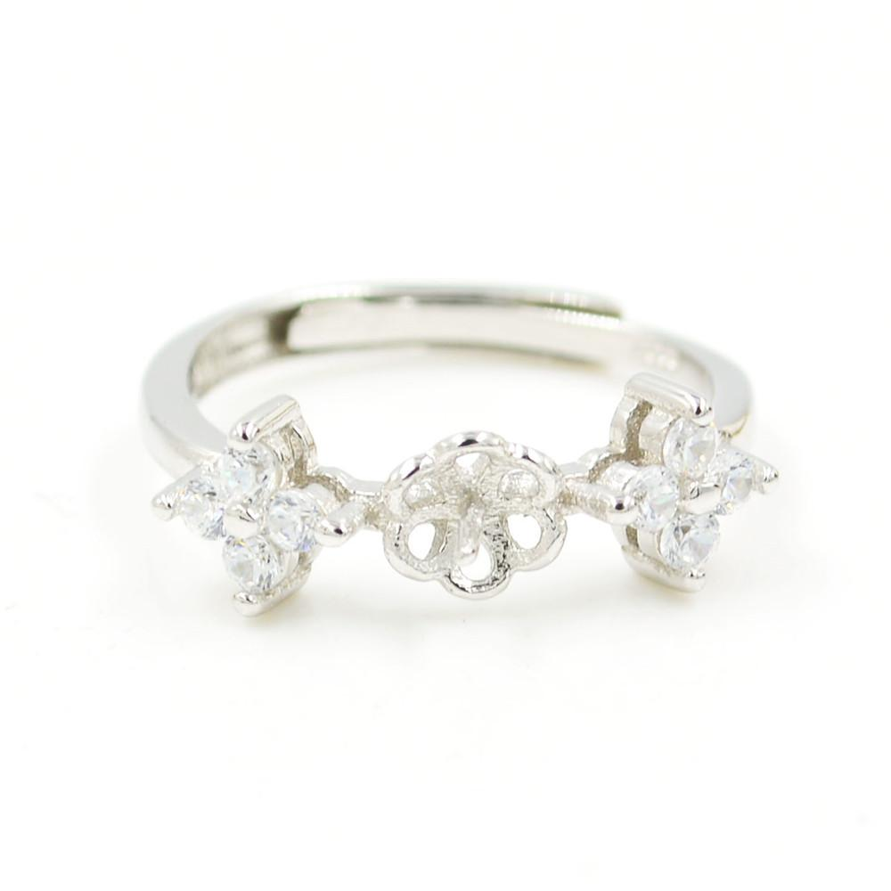 S925 стерлингового серебра кольцо крепления Циркон цветок кольцо крепления для женщин ювелирные изделия из жемчуга diy бесплатная доставка регулируемый открытие кольцо крепления