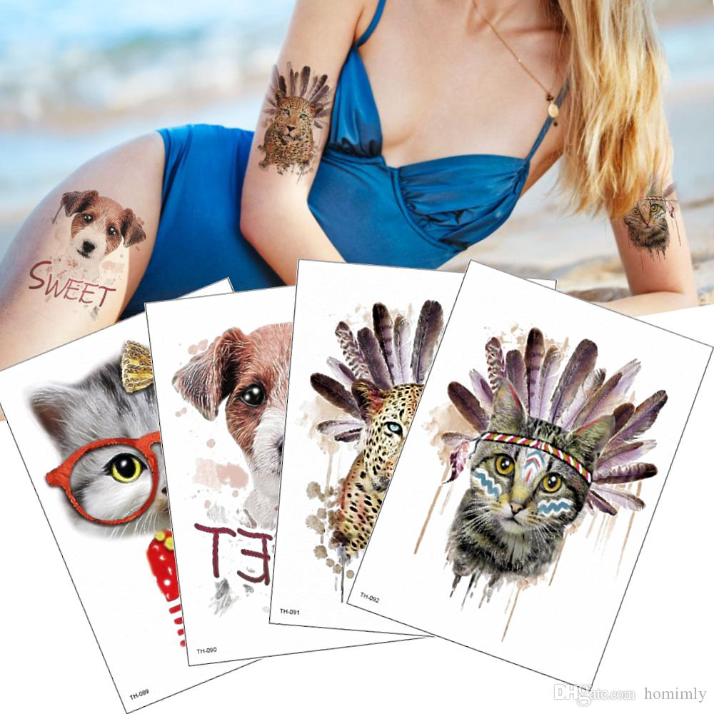 Fashion Tribe Indian Temporary Tattoos Waterproof Anime Sticker Sweet Cat Dog Designs for Festival Women and Men Body Art Tattoo Cover Scars