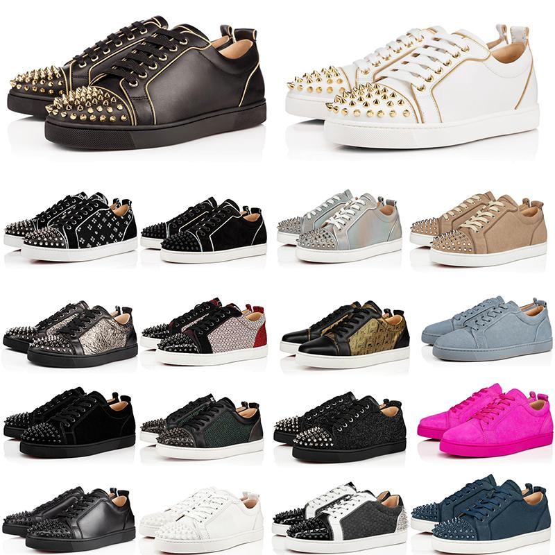 2010 أحذية فاخر مصمم الأحمر أسفل جلد طبيعي أحذية رياضية أعلى جودة الأسود أحذية عارضة حجم 35-48 مع صندوق
