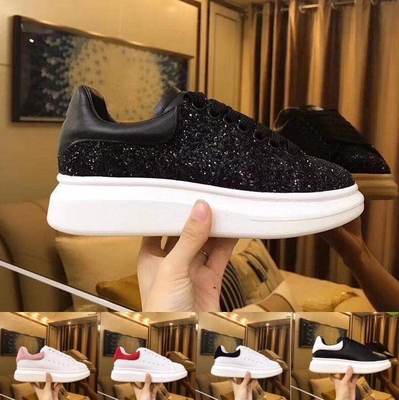 Modedesigner-beiläufige Schuh-Frauen-Männer der Männer tägliche Lifestyle Skateschuh Luxus Szeneplattform Gehen Trainer Black Glitter Shinny
