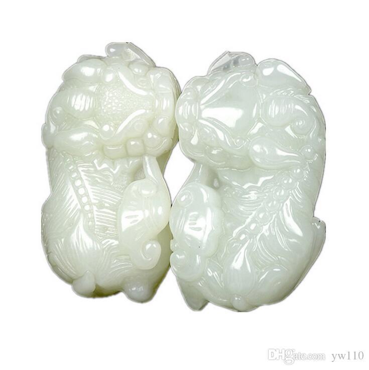 Abertura direta da fábrica genuína Hetian jade Ruyi Wang Wang esculpida pingente de jade