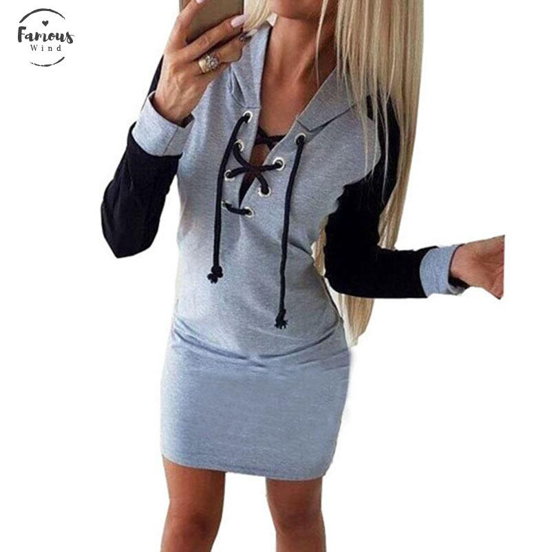 Printemps Kwaii Hoodies Robe Casual Parti Femmes V Neck Lace Up Robe Plaid Femme Robe Droite Couleur Patchwork Plus La Taille Mujer