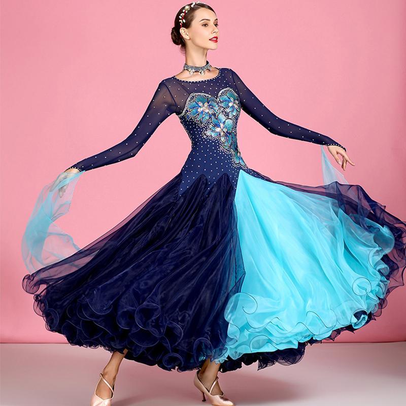 La competencia de baile de salón vestidos brillantes diamantes de imitación bordado estándar Vals vestido de baile flamenco español Etapa desgaste DN4443