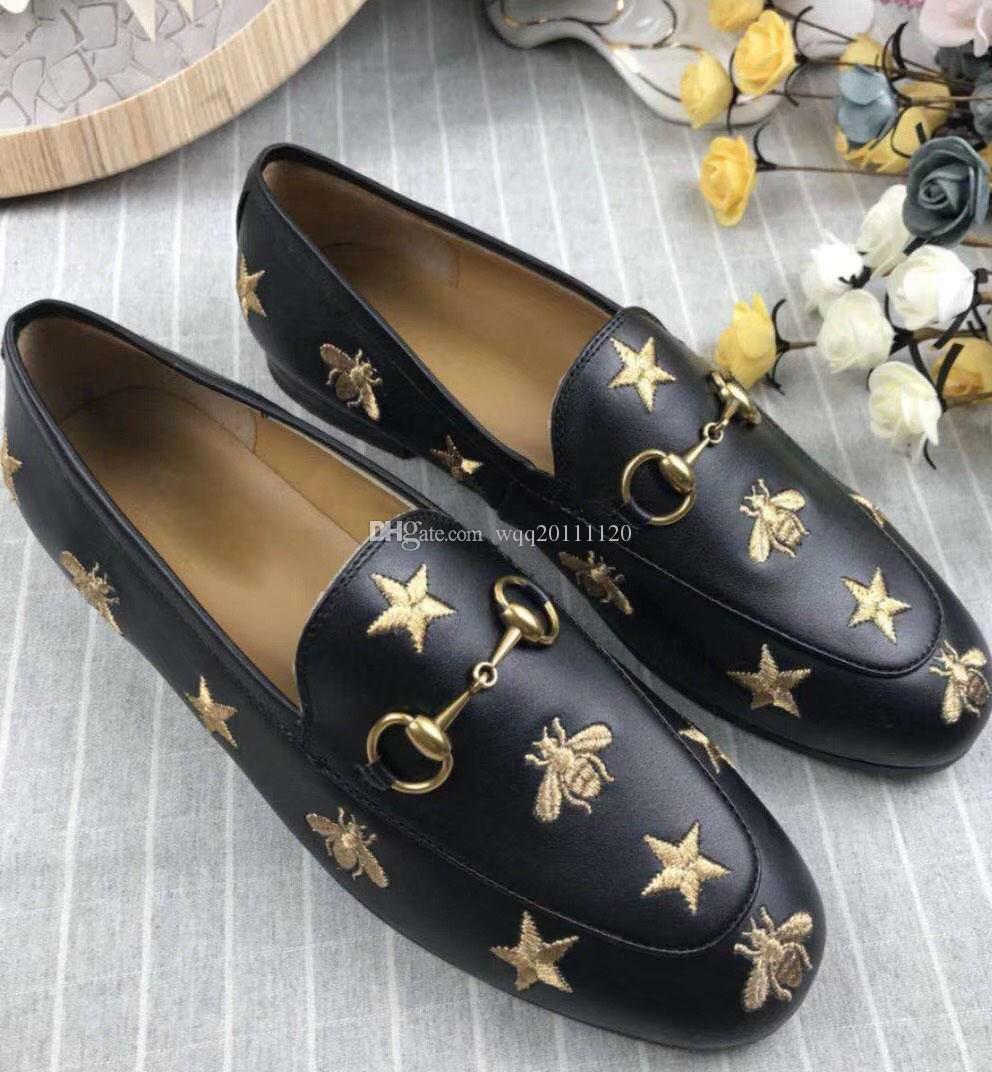 La nueva estrella de abejas + planos de la señora zapatos de cuero inferiores de tamaño completo de cuero, negro completo. Beige.